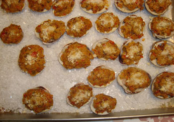Clams Casino on a baking tray with rocksalt