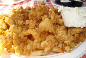 Fried Clams with tartar sauce and fries, Newicks Seafood restaurant, Dover, New Hampshire